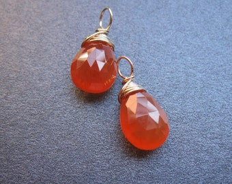 CARNELIAN wire wrapped gemstone Interchangeable Earring drops, dangles, charms, Pair of genuine faceted briolettes