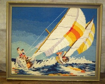 Sailboat Needlepoint Picture Vintage Needle Work Embroidery Sailboats