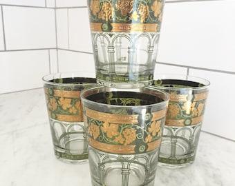 Cera Barware, Green Gilt Barware, Double Old Fashion, Vintage Barware, Bar Cart, Bar Glasses, Green Gold Grapes
