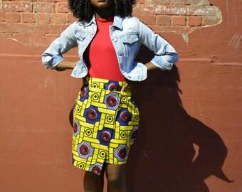 African Print, African Skirt, African Clothing, African Fashion, Ankara Fashion, African mini skirt, Wrap front skirt, Asymmetrical Skirt