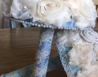 SALE!!!!Shabby chic flower bouquet, Antique Blue shabby chic vintage bouquet, Jeweled Bouquet, brooch Bouquet, ready to ship, ramos