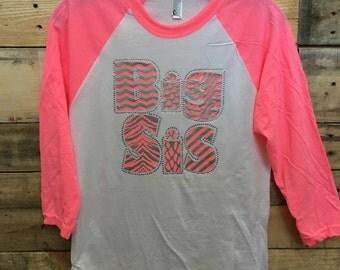 BIG SIS Neon Girly Baseball Tee