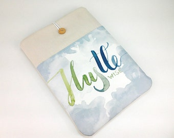 Custom laptop case, Dell XPS cover, Lenovo Yoga sleeve, watercolor lettering, front pocket, Hustle wise, Surface Pro case, 15.6in  sleeve