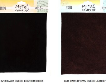 8x10 Leather Dark Brown or BLACK, 8x10 SUEDE Cow Leather Dk Brown or BLACK, Genuine Suede leather, jewelry supplies, Suede, Leather Sheet
