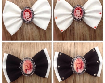 David Bowie Labyrinth hair bow clip rockabilly psychobilly kawaii kitsch pin up alternative fabric vintage grey black retro ladies girls