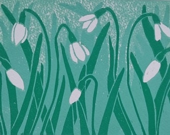 Spring Snowdrops Limited Edition Lino Print