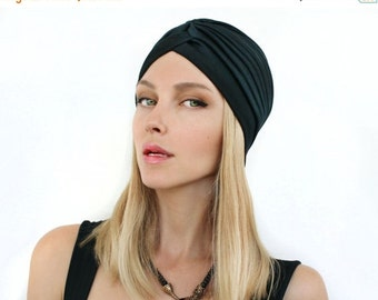 ON SALE Women  Black Turban Hat