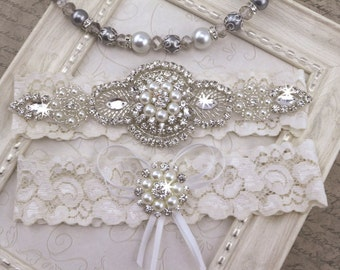 Wedding Garter , Pearl Crystal Garter Set , Lace Bridal Garter , Wedding Garter Set  , Garter ,Lace Garter