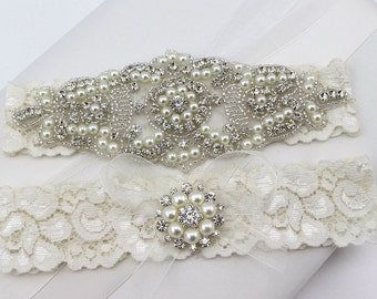 Wedding Garter ,Pearl Rhinestone and Crystal Garter Set ,Lace Bridal Garter ,Wedding Garter Set  ,Garter , Rhinestone Applique Garter