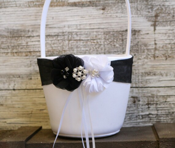 Flower Girl Baskets Black : Your color flower girl basket black and white wedding