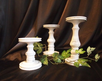 Primitive White Lathe-turned Wooden Pillar Candle Holder Set of 3 - MADE IN USA