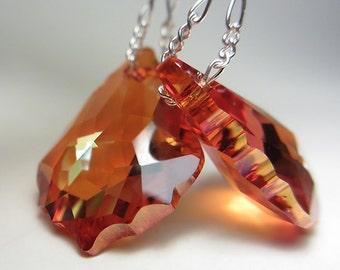 Swarovski Crystal Earrings Exotic Orange Earrings Sunset Chili Pepper Crystal Earrings Amber Swarovski Dangle Topaz Earrings AB Gift for Her