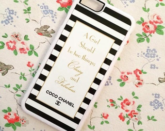 iPhone Coco Chanel quote phone case 'A girl should be two things; Classy & Fabulous'