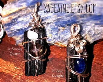 SageAine: Black Tourmaline Crystal Pendant,  Dispel and Transmute Negativity, Reiki Charged, Crystal Healing