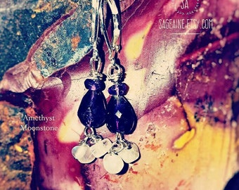 SageAine : Amethyst Briolette Moonstone Silver Earrings, Spiritual Protection , High Priestess, Reiki Charged, Crystal Healing, Crown Chakra