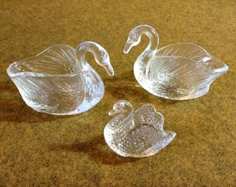 Three Swans - Vintage Pressed Glass - 2 larger and the same, 1 smaller - Center Piece - Candy Dish - Decor
