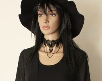 Gothic Black Lace Choker Halloween Jewelry Victorian Choker Medieval Necklace