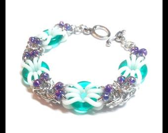 Stretchy Chainmaille Bracelet - Seawater Glass - Byzantine