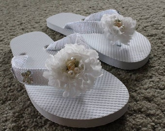 White Floral Hand Decorated Flip Flops