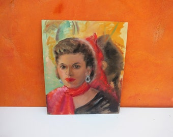 Vintage 1950s 1960s Oil Painting of Pretty Woman. Lady female