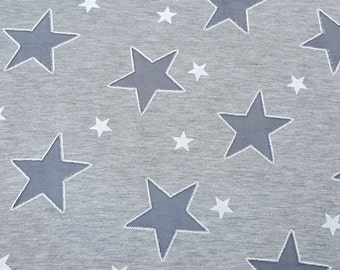 Heather Gray Cotton Jersey Patriotic Burnout Stars Fabric by the Yard 10/15