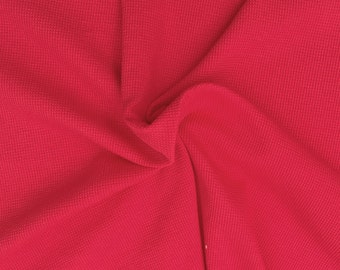 """Red Thermal Cotton SPANDEX Knit Fabric by the Yard Waffle Weave 63""""W 10/16"""