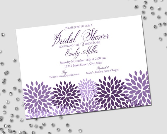 Purple Flower Bridal Shower Invitation : Bridal shower invitation purple white flowers flower