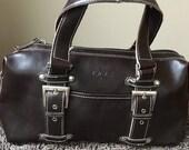 Vintage real leather hand bag e