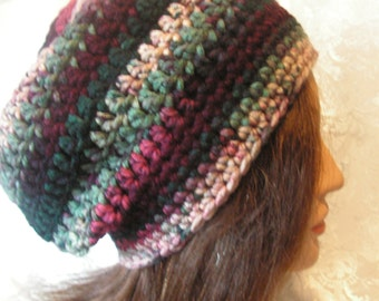 SLOUCHY-BEANIE-Rasta-Hat-Crochet-Color-HOLIDAY-variegated-greens-maroons-beige