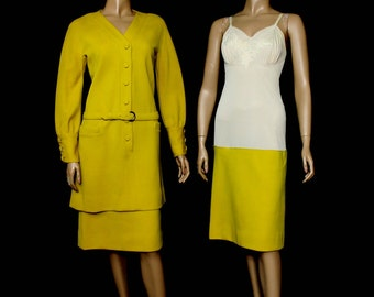 1960s Yellow Outfit Vintage Attached Slip Suit Dress Jacket