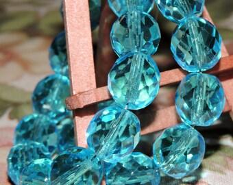 10 ~ Aqua 10mm Czech Glass  Faceted Round