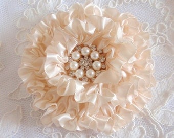 Handmade Ribbon Flower With Rhinestone Pearls  (3.5 inches) In Ivory MY-415-128 Ready To Ship