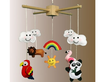 Baby mobile - Flamingo, lion, panda & Parrot - Handmade Felt (Customisable and Made to Order)