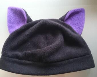 Black Cat Fleece Hat Purple Inner Ears Cute Halloween Winter Costume
