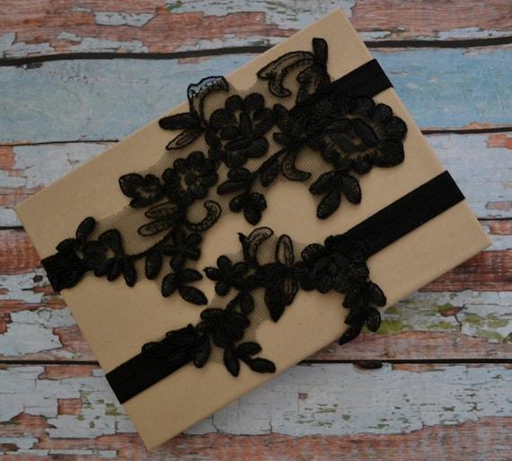 Vintage Lace Wedding Garter Set: Black Lace Wedding Garter Set Black Floral By