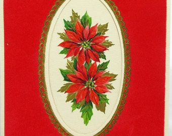 Beautiful Vintage Hallmark Christmas Card For Your Wife With Flocked Velvet Die Cut Front With Lovely Poinsettia Flowers
