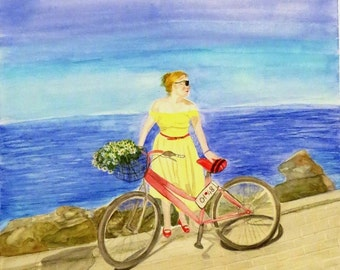 Original Watercolor Painting - RED BICYCLE