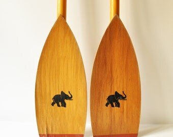 Vintage Wooden Canoe/Kayak Oars- Boat Paddles with Elephant Figurine