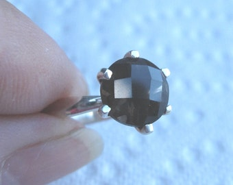 Smokey Quartz Solitaire Sterling Silver Ring Size 6