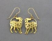 Vintage WILD BRYDE Dalmation Gold Plated Pierced Earrings. Vintage Dog Earrings