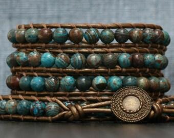 wrap bracelet- blue sky jasper on bronze leather - turquoise red brown
