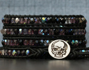 skull and crystal wrap bracelet - bohemian gothic glam - purple and black - halloween jewelry - day of the dead - skull jewelry
