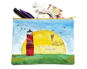 LIGHTHOUSE Art Hand Painted Medium Large Zipper POUCH with Whale and Boat Artwork and Inspirational Words, Handpainted Art Pouch lg2016924a