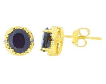 14Kt Yellow Gold Genuine Black Onyx & Diamond Round Stud Earrings