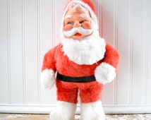 Vintage Plush Santa Claus Doll - Red Suit Mid Century Christmas Toy Rubber Face