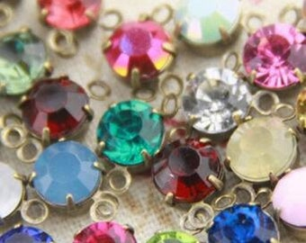 12 pcs of rhinestone 5mm with brass setting bronze two loop charm-1160-you can choose color