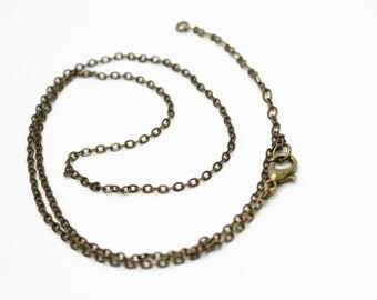 6 pcs of ready made brass chain 2mm chain 18inch and 15inch with 2 inch extender-antique bronze