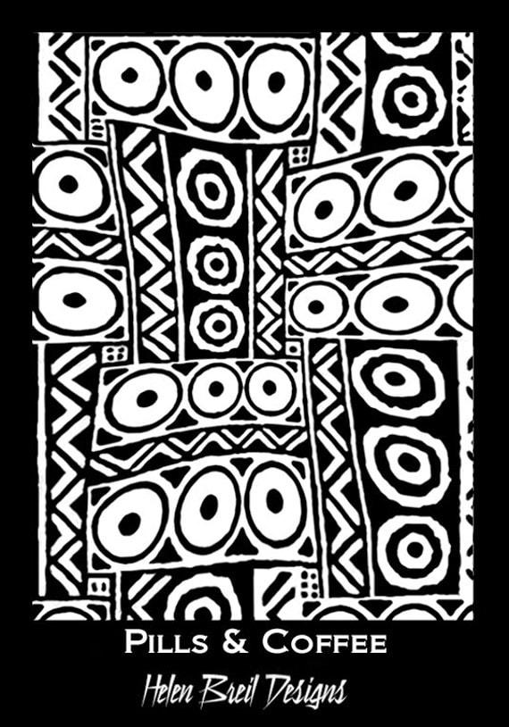 pills & coffee a silkscreen by Helen Breil, beautiul crisp designs perfect for silkscreening on polymer clay