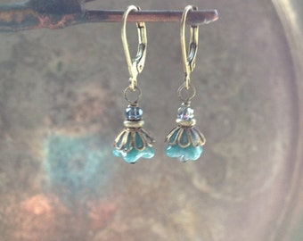 20off Petite flower dangle earrings by TreetopJewelryDesign