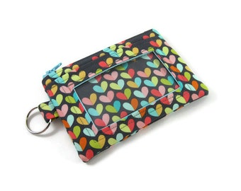 ID Wallet / Keychain ID Wallet / ID Holder in Hearts and Lovebugs
